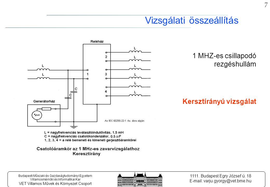 27 Budapesti Műszaki és Gazdaságtudományi Egyetem Villamosmérnöki és Informatikai Kar VET Villamos Művek és Környezet Csoport 1111.