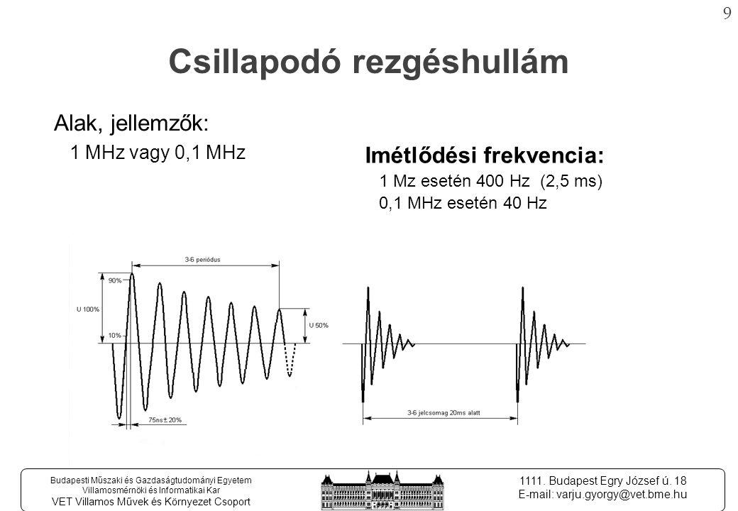 8 Budapesti Műszaki és Gazdaságtudományi Egyetem Villamosmérnöki és Informatikai Kar VET Villamos Művek és Környezet Csoport 1111.
