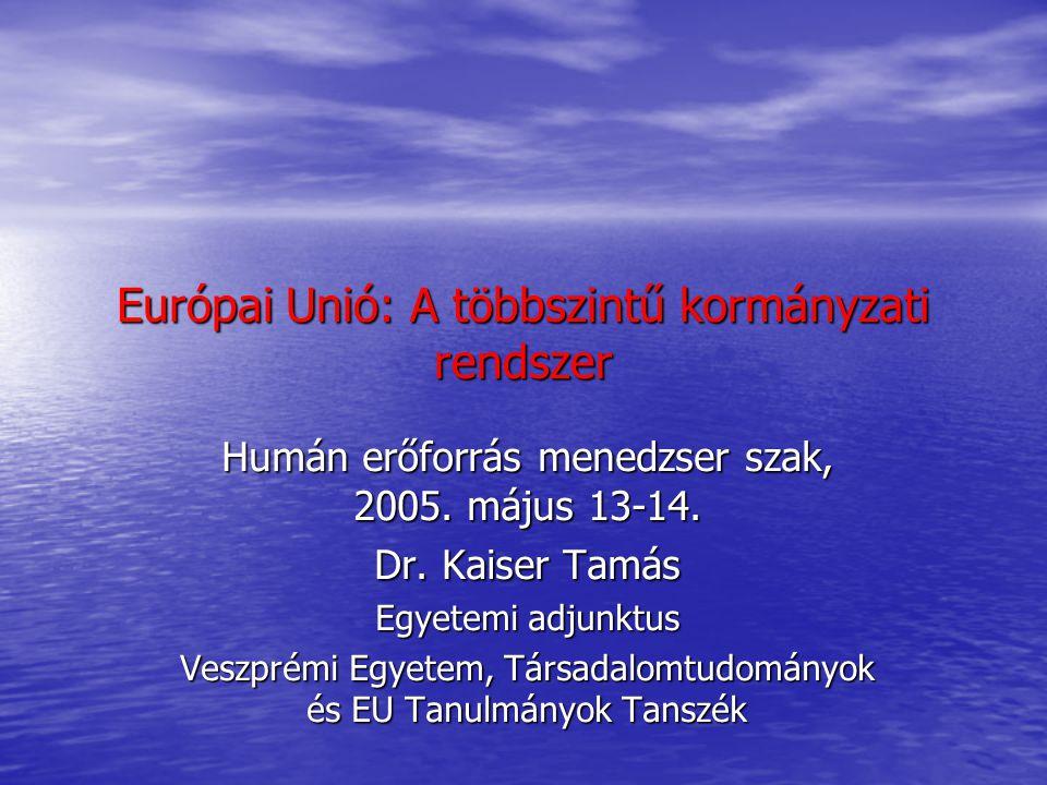 """Az EU mint többszintű kormányzati rendszer Európai belpolitika Európai belpolitika Egységes Európai Okmány, Maastrichti Szerződés, Amszterdami Szerződés, Nizzai Szerződés, Szerződés Európa Alkotmányáról Egységes Európai Okmány, Maastrichti Szerződés, Amszterdami Szerződés, Nizzai Szerződés, Szerződés Európa Alkotmányáról Bővítési hullámok-intézményi reformok Bővítési hullámok-intézményi reformok Elmélyítés és/vagy bővítés Elmélyítés és/vagy bővítés Az európaizációs folyamat Az európaizációs folyamat """"top-down """"top-down """"bottom up """"bottom up """"horizontal """"horizontal Az EU többszintű intézményi struktúrája Az EU többszintű intézményi struktúrája Kormányzat nélküli kormányzás(governance) Kormányzat nélküli kormányzás(governance) Nemzetek feletti (szupranacionális)szint Nemzetek feletti (szupranacionális)szint Nemzeti (kormányzati) szint Nemzeti (kormányzati) szint Szubnacionális szint Szubnacionális szint Civil társadalom Civil társadalom Közpolitikai hálózatok (policy network) Közpolitikai hálózatok (policy network)"""