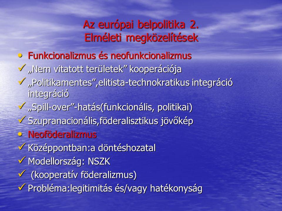 """Elméleti megközelítések A kormányközi elméletek A kormányközi elméletek Az integráció hajtóereje :a tagállami önérdek (kormányközi alkufolyamatok) Az integráció hajtóereje :a tagállami önérdek (kormányközi alkufolyamatok) Stabilitás,költséghatékonyság,belpolitikai racionalitás Stabilitás,költséghatékonyság,belpolitikai racionalitás Az integráció előrehaladása:csak ha a kormányközi együttműködés már nem hatékony Az integráció előrehaladása:csak ha a kormányközi együttműködés már nem hatékony Az integráció fejlődése:ciklikus-bizonytalan jövőkép Az integráció fejlődése:ciklikus-bizonytalan jövőkép A liberális kormányközi felfogás A liberális kormányközi felfogás A """"kétszintű játék modellje A """"kétszintű játék modellje A tagállamok érdekérvényesítő képességének modellezhetősége A tagállamok érdekérvényesítő képességének modellezhetősége A nemzet preferenciák folyamatos változása A nemzet preferenciák folyamatos változása"""