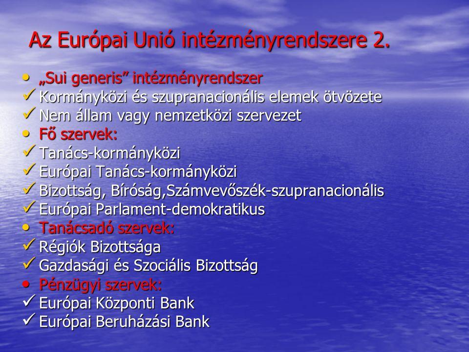 """Európai Tanács Az EU csúcsszerve 1974-től Az EU csúcsszerve 1974-től A tagállamok állam-és kormányfőinek testülete A tagállamok állam-és kormányfőinek testülete Feladata: stratégiai döntések meghozatala, kompromisszumok elfogadása(""""egyezségcsomag ) Feladata: stratégiai döntések meghozatala, kompromisszumok elfogadása(""""egyezségcsomag ) Nem alkot jogszabályt (az előterjesztést a Tanács fogadja el) Nem alkot jogszabályt (az előterjesztést a Tanács fogadja el) A külpolitikai irányvonal meghatározása A külpolitikai irányvonal meghatározása Soros elnökség(csúcstalálkozók) Soros elnökség(csúcstalálkozók) Kormányközi konferenciák Kormányközi konferenciák Nem az EU intézményi keretében folynak Nem az EU intézményi keretében folynak Feladat: az alapító szerződések módosítása Feladat: az alapító szerződések módosítása Ratifikációs kötelezettség a tagállamok részéről Ratifikációs kötelezettség a tagállamok részéről"""