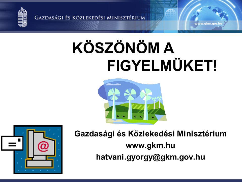 KÖSZÖNÖM A FIGYELMÜKET! Gazdasági és Közlekedési Minisztérium www.gkm.hu hatvani.gyorgy@gkm.gov.hu