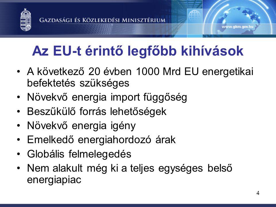 4 Az EU-t érintő legfőbb kihívások A következő 20 évben 1000 Mrd EU energetikai befektetés szükséges Növekvő energia import függőség Beszűkülő forrás lehetőségek Növekvő energia igény Emelkedő energiahordozó árak Globális felmelegedés Nem alakult még ki a teljes egységes belső energiapiac