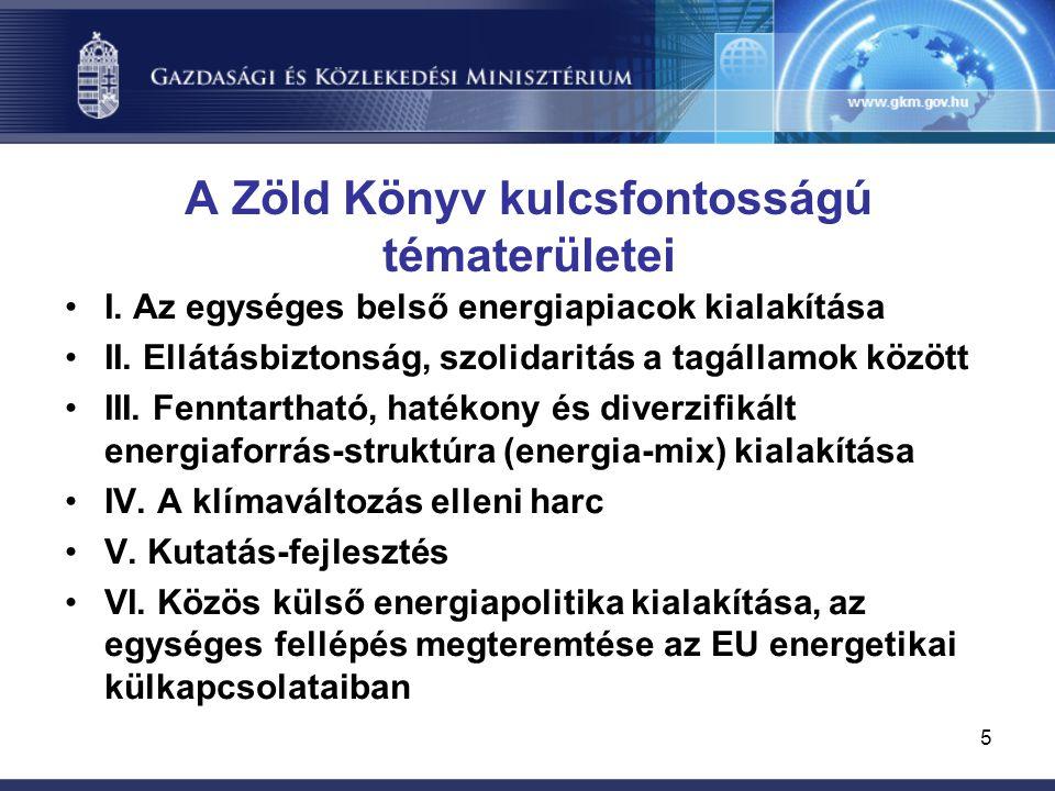 5 A Zöld Könyv kulcsfontosságú tématerületei I. Az egységes belső energiapiacok kialakítása II.