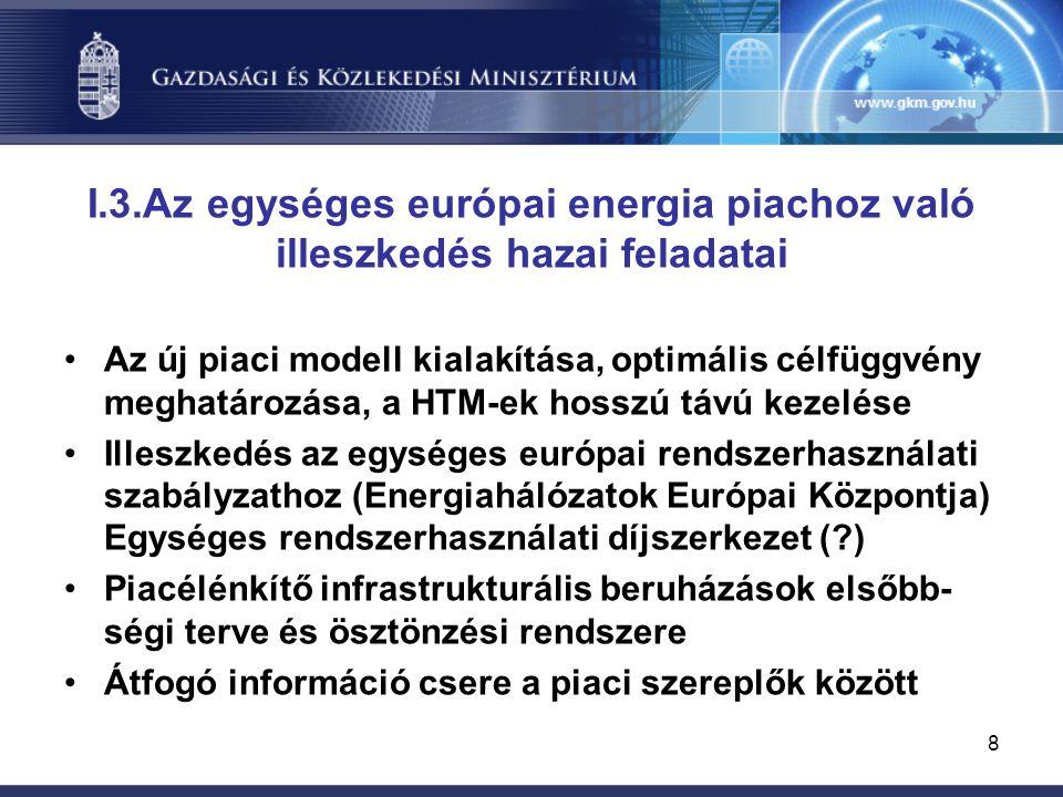 8 I.3.Az egységes európai energia piachoz való illeszkedés hazai feladatai Az új piaci modell kialakítása, optimális célfüggvény meghatározása, a HTM-ek hosszú távú kezelése Illeszkedés az egységes európai rendszerhasználati szabályzathoz (Energiahálózatok Európai Központja) Egységes rendszerhasználati díjszerkezet (?) Piacélénkítő infrastrukturális beruházások elsőbb- ségi terve és ösztönzési rendszere Átfogó információ csere a piaci szereplők között