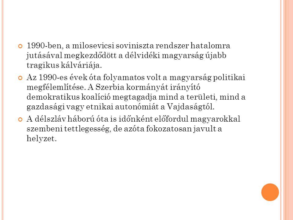 H ORVÁTORSZÁGI MAGYAROK Míg a mai Horvátország területén 1910-ben még 208 településen élt száznál több magyar, és a magyarság létszáma összesen 70 ezer volt, 1921-re a száz főnél népesebb magyarságú települések száma 108-ra csökkent, összesen 52 ezer magyarral.