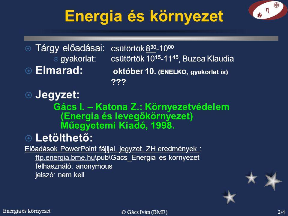 Energia és környezet © Gács Iván (BME)2/4 Energia és környezet ¤ Tárgy előadásai: csütörtök 8 30 -10 00 ¤ gyakorlat: csütörtök 10 15 -11 45, Buzea Klaudia ¤ Elmarad: október 10.