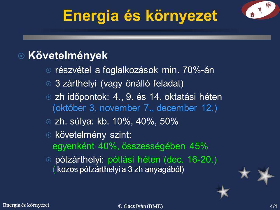 Energia és környezet © Gács Iván (BME)4/4 Energia és környezet ¤ Követelmények ¤ részvétel a foglalkozások min.