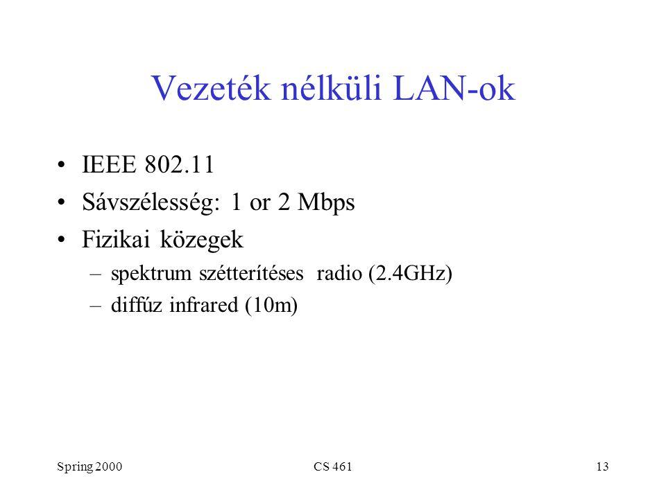 Spring 2000CS 46113 Vezeték nélküli LAN-ok IEEE 802.11 Sávszélesség: 1 or 2 Mbps Fizikai közegek –spektrum szétterítéses radio (2.4GHz) –diffúz infrared (10m)