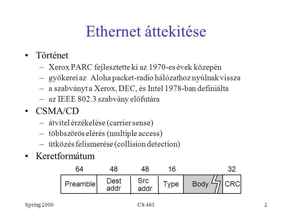 Spring 2000CS 4613 Ethernet (folyt.) Címek –egyedi, 48-bit unicast címe van minden adapternek –példa: 8:0:e4:b1:2 –broadcast: a cím minden bitje 1 –multicast: a cím első bitje 1 Sávszélesség: 10Mbps, 100Mbps, 1Gbps Hossz: 2500m (500m szegmensekből 4 ismétlővel) Probléma: osztott algoritmus, amely egyenlő (fair) hozzáférést biztosít az átviteli közeghez
