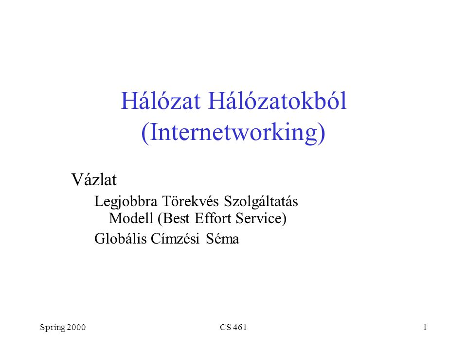 Spring 2000CS 4612 IP Internet Hálózatok összekapcsolása Protokoll Hierarchia R2 R1 H4 H5 H3 H2 H1 Network 2 (Ethernet) Network 1 (Ethernet) H6 Network 3 (FDDI) Network 4 (point-to-point) H7R3H8 R1 ETH FDDI IP ETH TCP R2 FDDI PPP IP R3 PPP ETH IP H1 IP ETH TCP H8