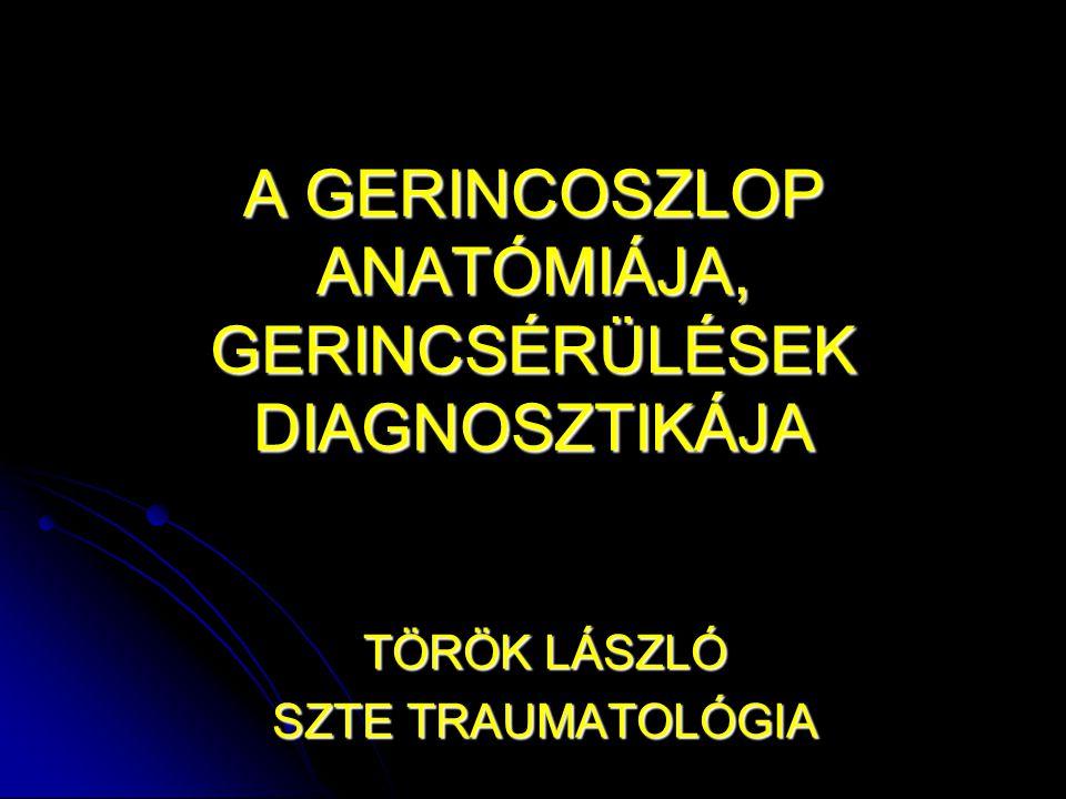 A GERINCOSZLOP ANATÓMIÁJA, GERINCSÉRÜLÉSEK DIAGNOSZTIKÁJA TÖRÖK LÁSZLÓ SZTE TRAUMATOLÓGIA