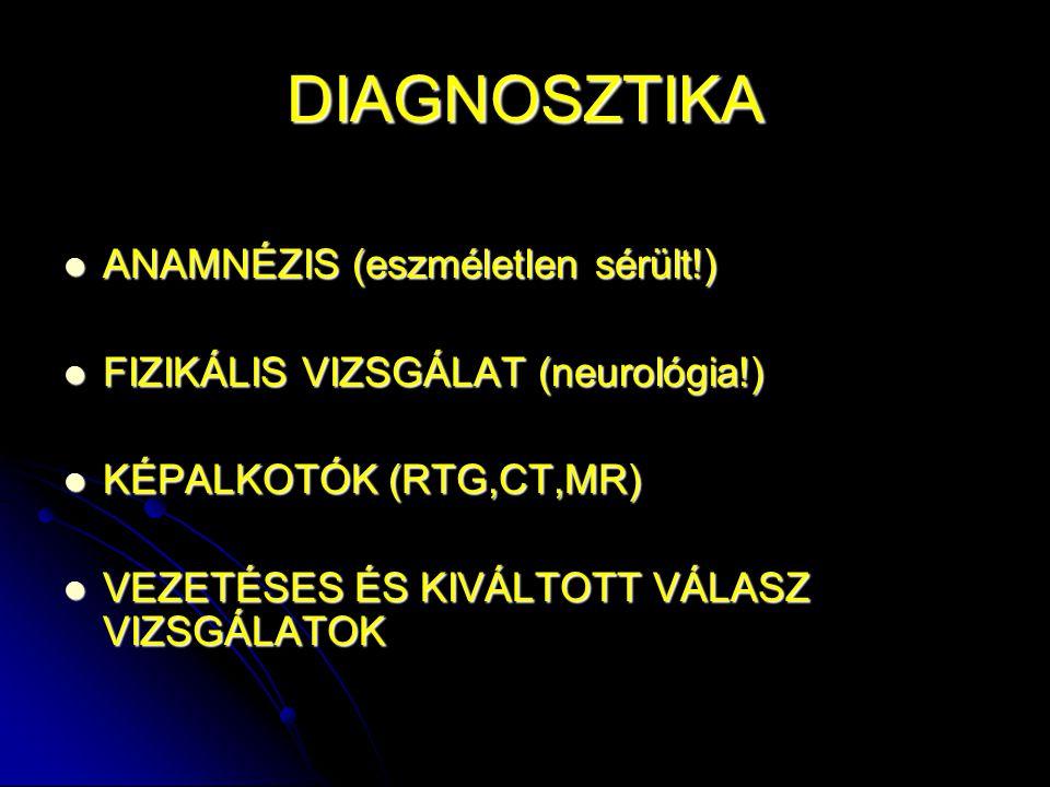 DIAGNOSZTIKA ANAMNÉZIS (eszméletlen sérült!) ANAMNÉZIS (eszméletlen sérült!) FIZIKÁLIS VIZSGÁLAT (neurológia!) FIZIKÁLIS VIZSGÁLAT (neurológia!) KÉPAL