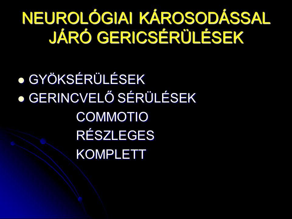 NEUROLÓGIAI KÁROSODÁSSAL JÁRÓ GERICSÉRÜLÉSEK GYÖKSÉRÜLÉSEK GYÖKSÉRÜLÉSEK GERINCVELŐ SÉRÜLÉSEK GERINCVELŐ SÉRÜLÉSEKCOMMOTIORÉSZLEGESKOMPLETT