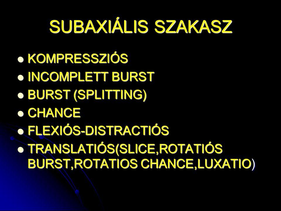 SUBAXIÁLIS SZAKASZ KOMPRESSZIÓS KOMPRESSZIÓS INCOMPLETT BURST INCOMPLETT BURST BURST (SPLITTING) BURST (SPLITTING) CHANCE CHANCE FLEXIÓS-DISTRACTIÓS F