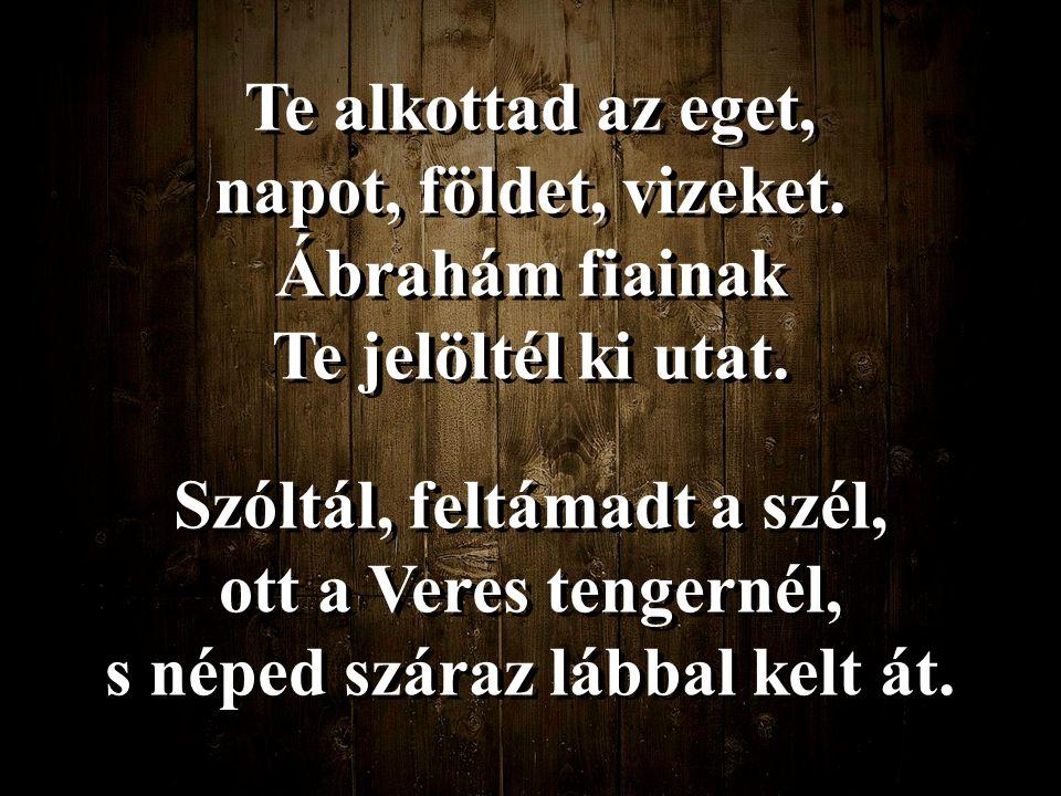 Te alkottad az eget, napot, földet, vizeket. Ábrahám fiainak Te jelöltél ki utat. Szóltál, feltámadt a szél, ott a Veres tengernél, s néped száraz láb