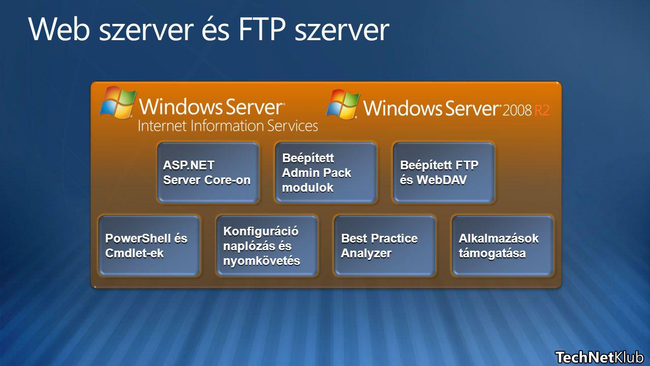 ASP.NET Server Core-on Beépített Admin Pack modulok Beépített FTP és WebDAV PowerShell és Cmdlet-ek Konfiguráció naplózás és nyomkövetés Best Practice Analyzer Alkalmazások támogatása