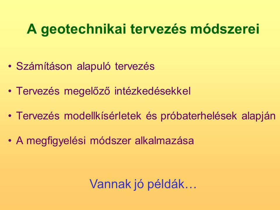 A geotechnikai tervezés módszerei Számításon alapuló tervezés Tervezés megelőző intézkedésekkel Tervezés modellkísérletek és próbaterhelések alapján A