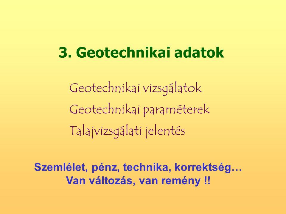 3. Geotechnikai adatok Geotechnikai vizsgálatok Geotechnikai paraméterek Talajvizsgálati jelentés Szemlélet, pénz, technika, korrektség… Van változás,