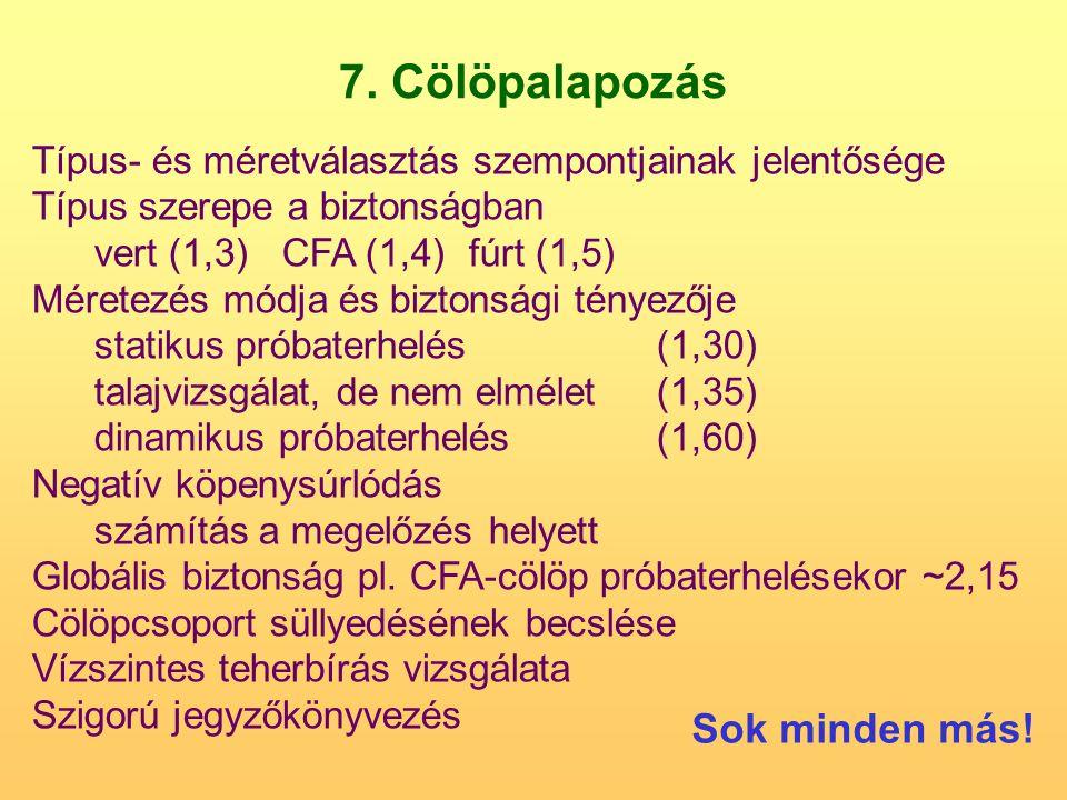 7. Cölöpalapozás Típus- és méretválasztás szempontjainak jelentősége Típus szerepe a biztonságban vert (1,3)CFA (1,4)fúrt (1,5) Méretezés módja és biz
