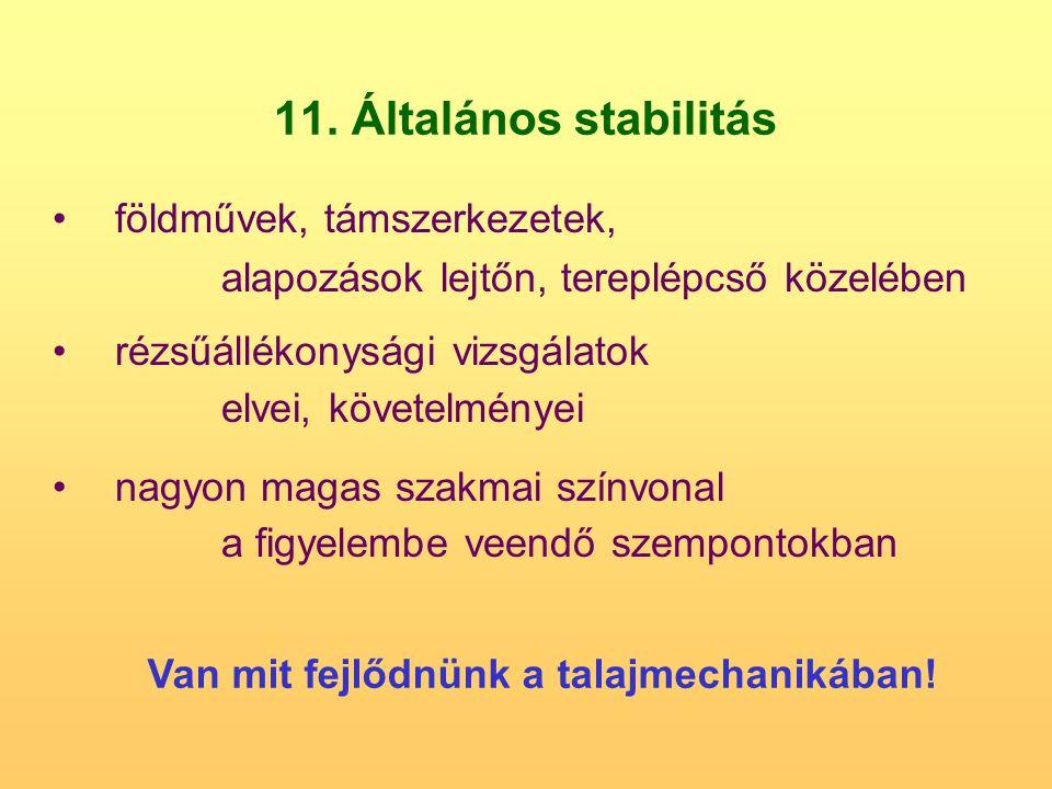 11. Általános stabilitás földművek, támszerkezetek, alapozások lejtőn, tereplépcső közelében rézsűállékonysági vizsgálatok elvei, követelményei nagyon