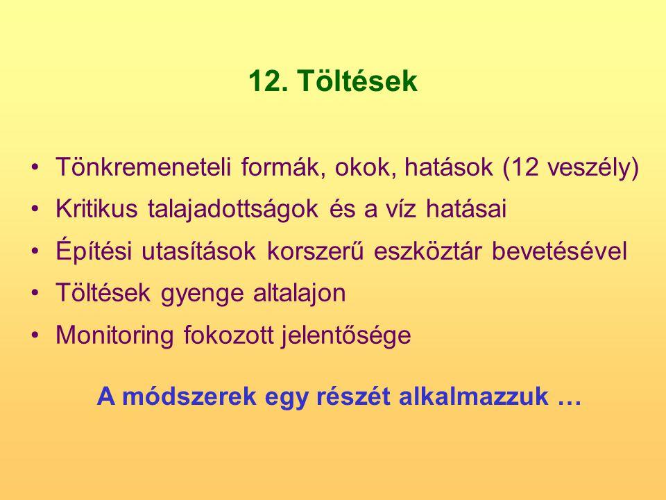 12. Töltések Tönkremeneteli formák, okok, hatások (12 veszély) Kritikus talajadottságok és a víz hatásai Építési utasítások korszerű eszköztár bevetés