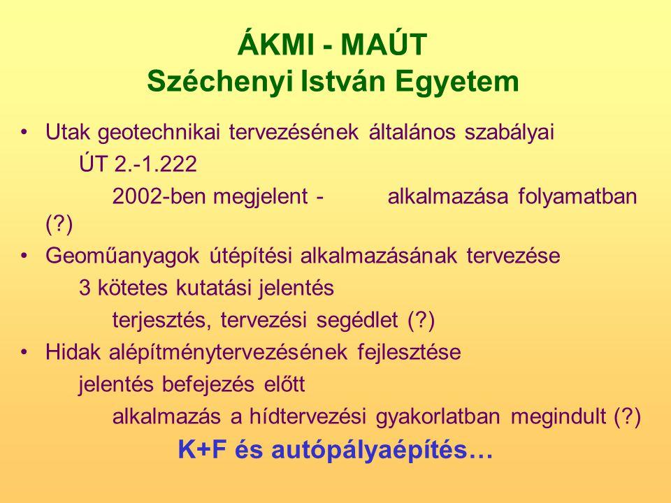 ÁKMI - MAÚT Széchenyi István Egyetem Utak geotechnikai tervezésének általános szabályai ÚT 2.-1.222 2002-ben megjelent -alkalmazása folyamatban (?) Ge