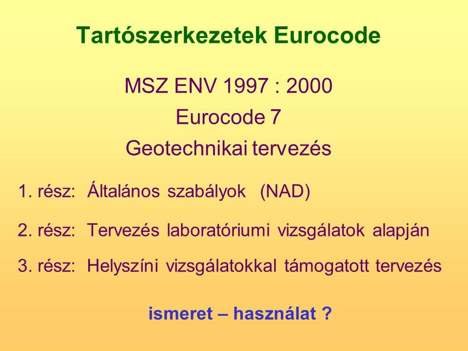 Tartószerkezetek Eurocode MSZ ENV 1997 : 2000 Eurocode 7 Geotechnikai tervezés 1. rész: Általános szabályok(NAD) 2. rész: Tervezés laboratóriumi vizsg