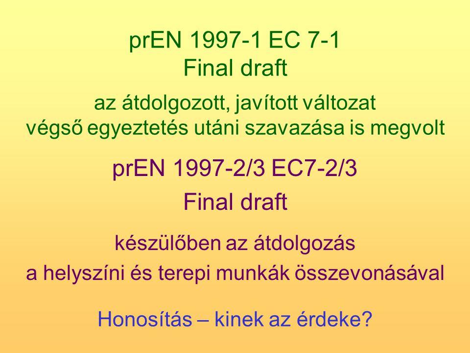 prEN 1997-1 EC 7-1 Final draft az átdolgozott, javított változat végső egyeztetés utáni szavazása is megvolt prEN 1997-2/3 EC7-2/3 Final draft készülő