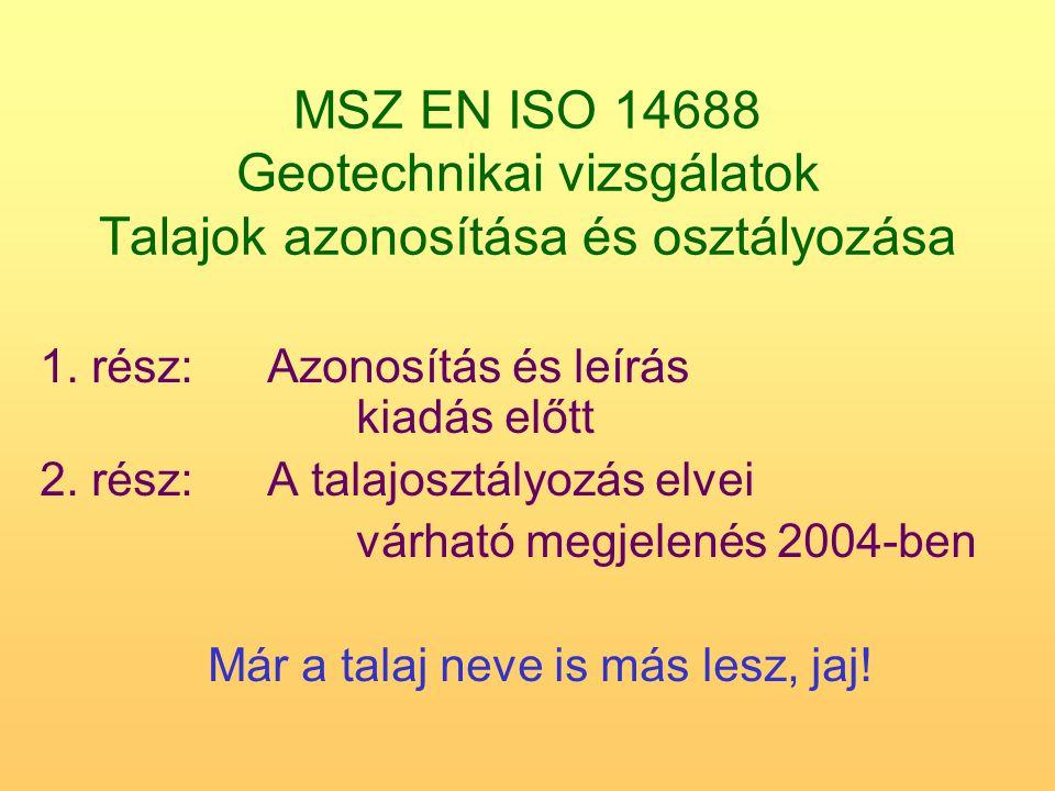 MSZ EN ISO 14688 Geotechnikai vizsgálatok Talajok azonosítása és osztályozása 1.rész: Azonosítás és leírás kiadás előtt 2.rész: A talajosztályozás elv