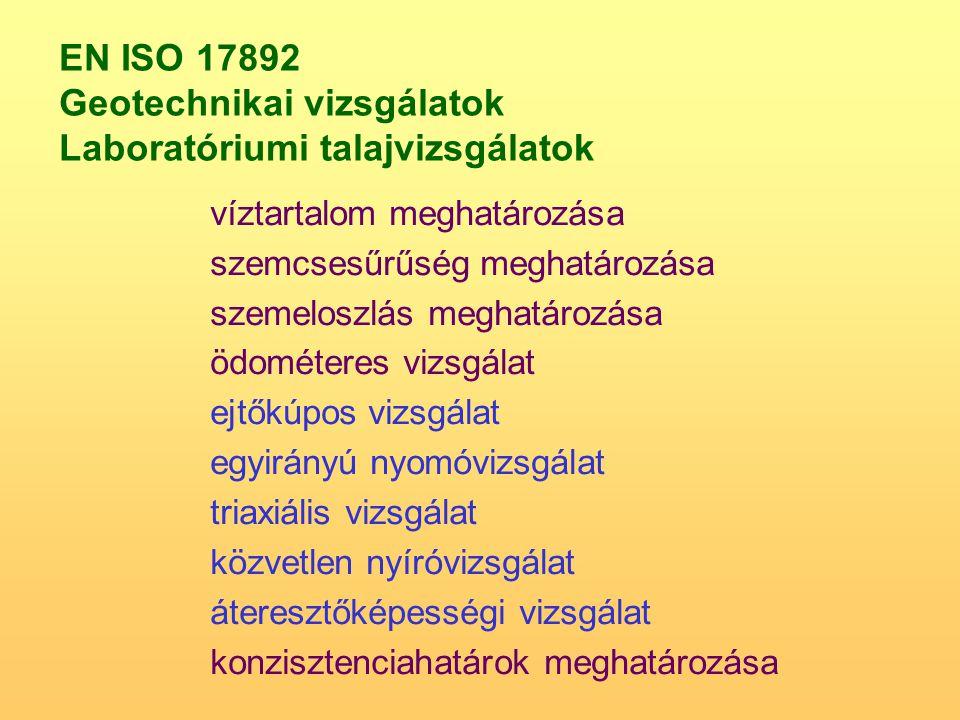 EN ISO 17892 Geotechnikai vizsgálatok Laboratóriumi talajvizsgálatok víztartalom meghatározása szemcsesűrűség meghatározása szemeloszlás meghatározása