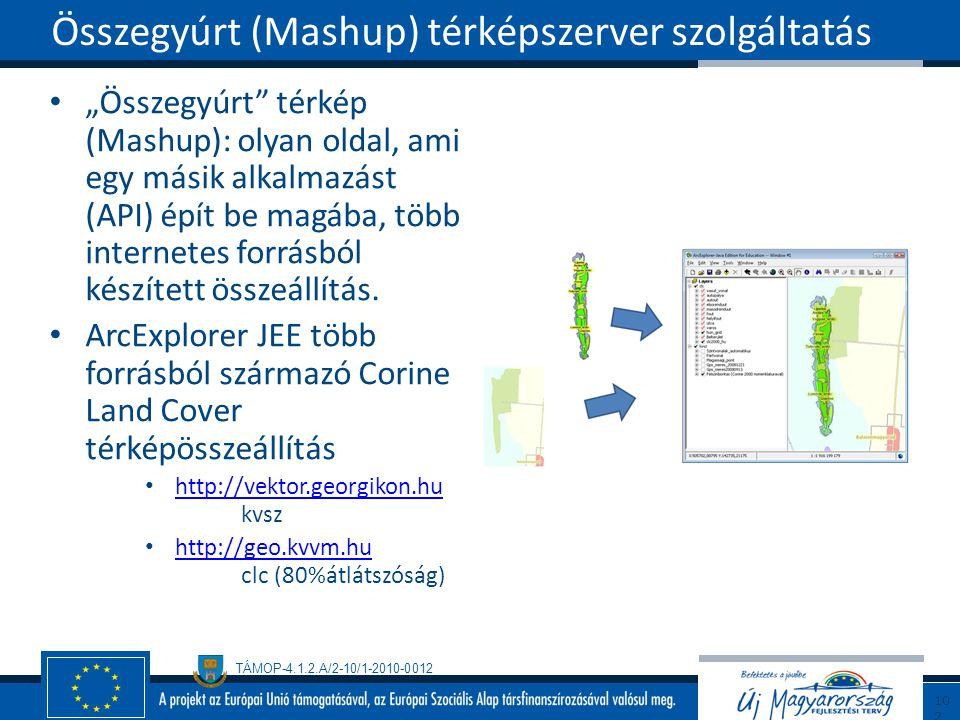 """TÁMOP-4.1.2.A/2-10/1-2010-0012 """"Összegyúrt"""" térkép (Mashup): olyan oldal, ami egy másik alkalmazást (API) épít be magába, több internetes forrásból ké"""