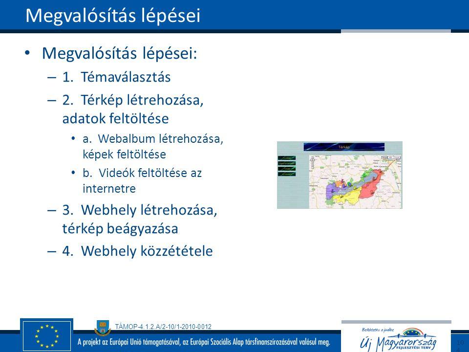 TÁMOP-4.1.2.A/2-10/1-2010-0012 Megvalósítás lépései: – 1. Témaválasztás – 2. Térkép létrehozása, adatok feltöltése a. Webalbum létrehozása, képek felt