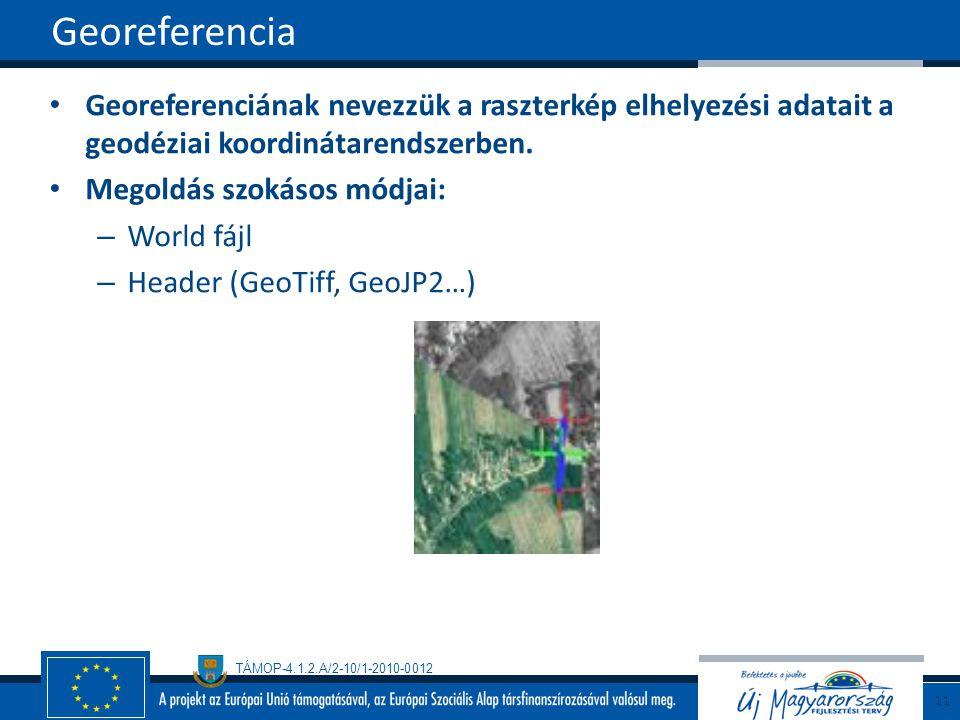 TÁMOP-4.1.2.A/2-10/1-2010-0012 Georeferenciának nevezzük a raszterkép elhelyezési adatait a geodéziai koordinátarendszerben. Megoldás szokásos módjai: