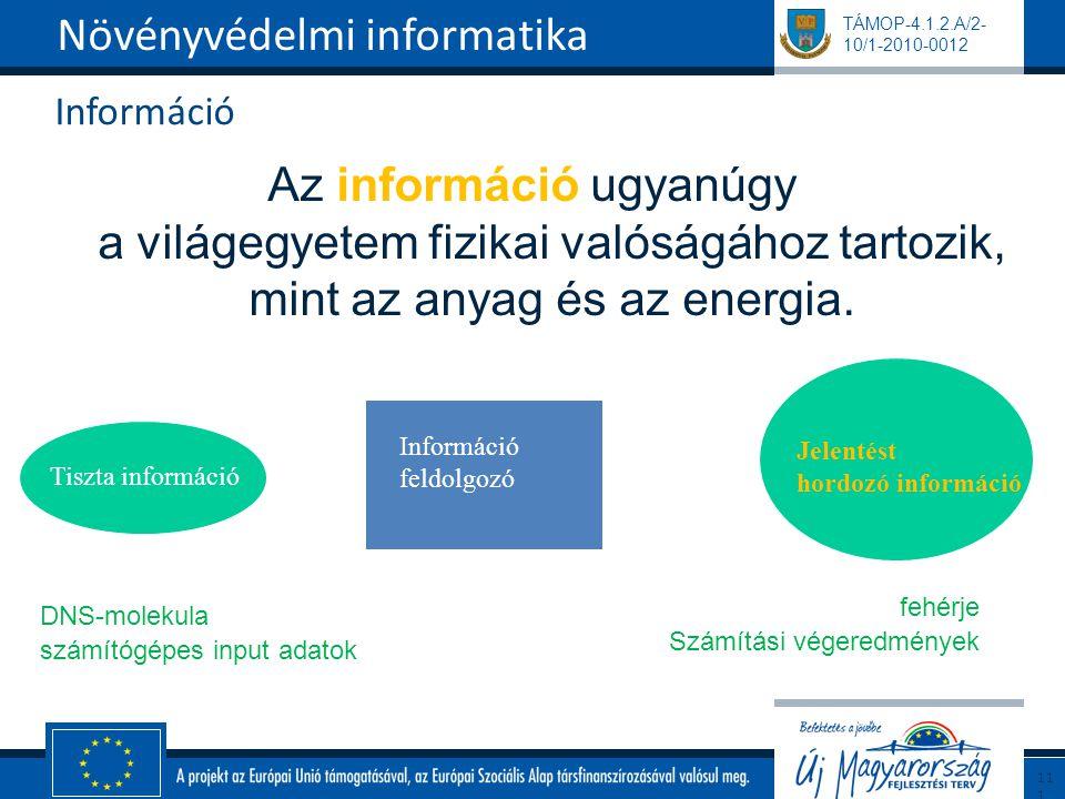TÁMOP-4.1.2.A/2- 10/1-2010-0012 Információ Az információ ugyanúgy a világegyetem fizikai valóságához tartozik, mint az anyag és az energia. Növényvéde