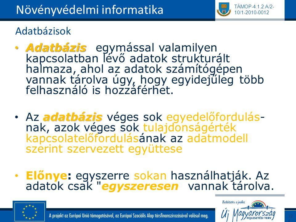 TÁMOP-4.1.2.A/2- 10/1-2010-0012 Adatbázisok Adatbázis Adatbázis: egymással valamilyen kapcsolatban lévő adatok strukturált halmaza, ahol az adatok szá