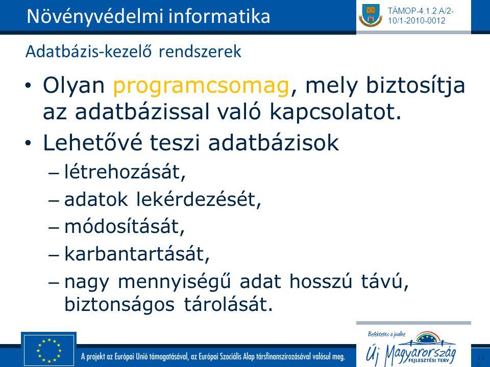 TÁMOP-4.1.2.A/2- 10/1-2010-0012 Adatbázis-kezelő rendszerek Olyan programcsomag, mely biztosítja az adatbázissal való kapcsolatot. Lehetővé teszi adat