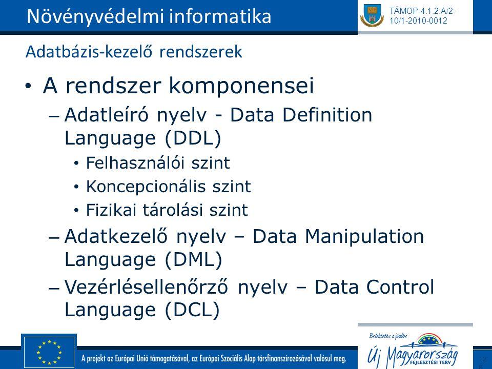 TÁMOP-4.1.2.A/2- 10/1-2010-0012 Adatbázis-kezelő rendszerek A rendszer komponensei – Adatleíró nyelv - Data Definition Language (DDL) Felhasználói szint Koncepcionális szint Fizikai tárolási szint – Adatkezelő nyelv – Data Manipulation Language (DML) – Vezérlésellenőrző nyelv – Data Control Language (DCL) Növényvédelmi informatika128