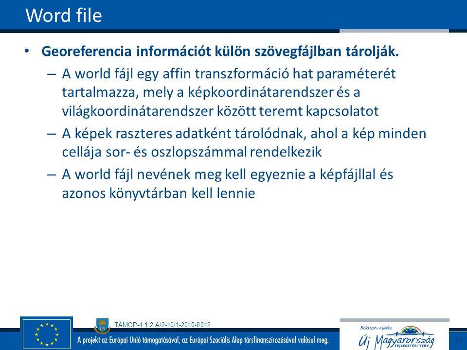 TÁMOP-4.1.2.A/2-10/1-2010-0012 Georeferencia információt külön szövegfájlban tárolják. – A world fájl egy affin transzformáció hat paraméterét tartalm