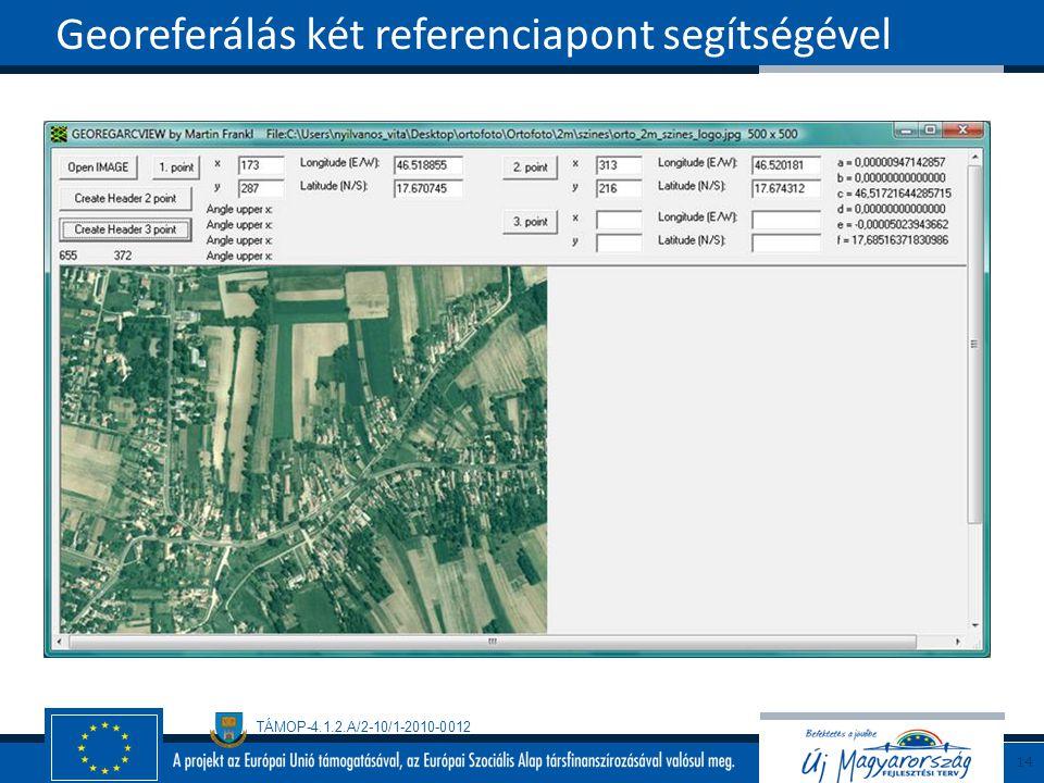 TÁMOP-4.1.2.A/2-10/1-2010-0012 Georeferálás két referenciapont segítségével 14