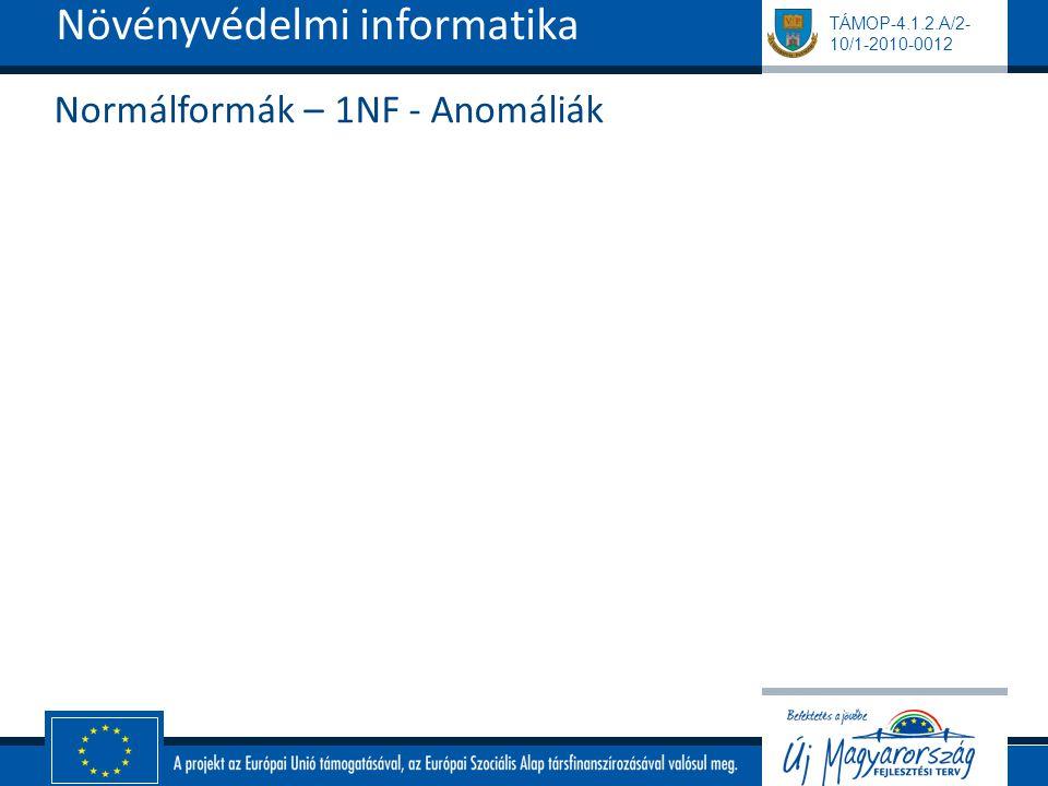 TÁMOP-4.1.2.A/2- 10/1-2010-0012 Normálformák – 1NF - Anomáliák Látható a sok redundancia (pl. Növény és latinnév). Rejtett hibalehetőségek (változtatá