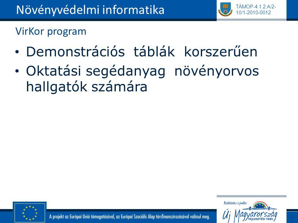 TÁMOP-4.1.2.A/2- 10/1-2010-0012 VirKor program Demonstrációs táblák korszerűen Oktatási segédanyag növényorvos hallgatók számára Növényvédelmi informa