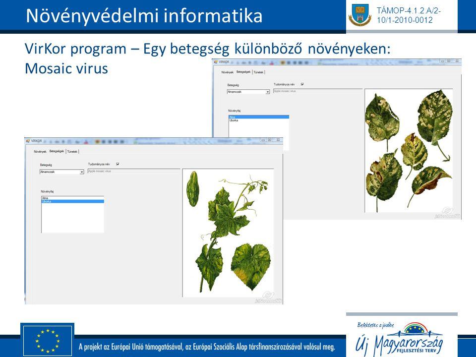 TÁMOP-4.1.2.A/2- 10/1-2010-0012 VirKor program – Egy betegség különböző növényeken: Mosaic virus Növényvédelmi informatika