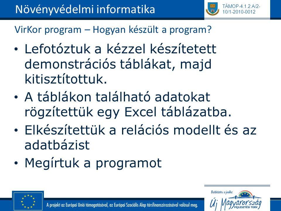 TÁMOP-4.1.2.A/2- 10/1-2010-0012 VirKor program – Hogyan készült a program.
