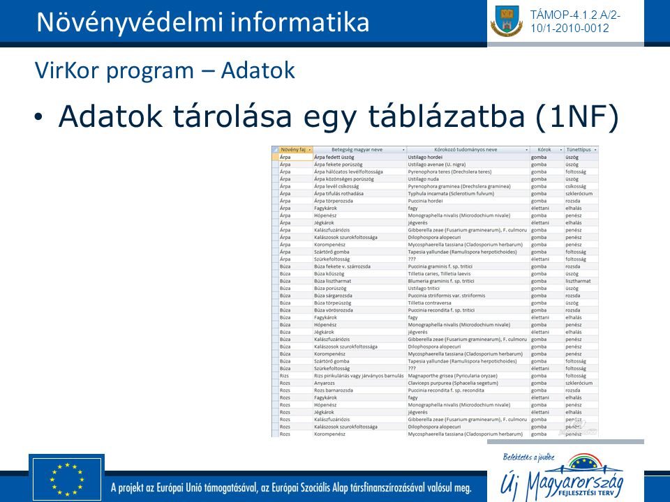 TÁMOP-4.1.2.A/2- 10/1-2010-0012 VirKor program – Adatok Adatok tárolása egy táblázatba (1NF) Növényvédelmi informatika