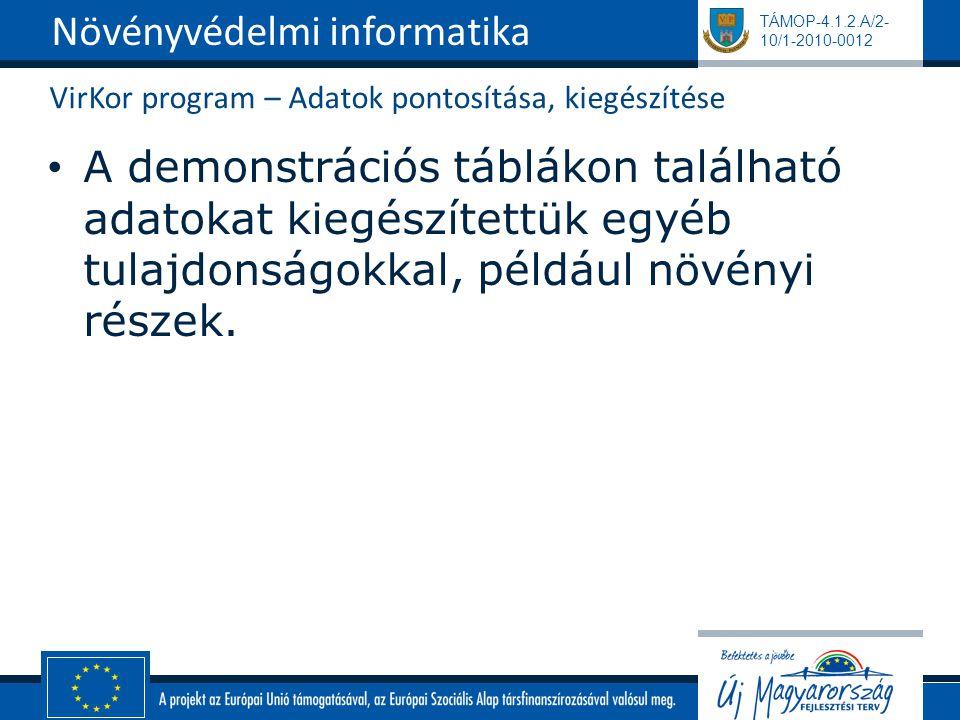 TÁMOP-4.1.2.A/2- 10/1-2010-0012 VirKor program – Adatok pontosítása, kiegészítése A demonstrációs táblákon található adatokat kiegészítettük egyéb tul