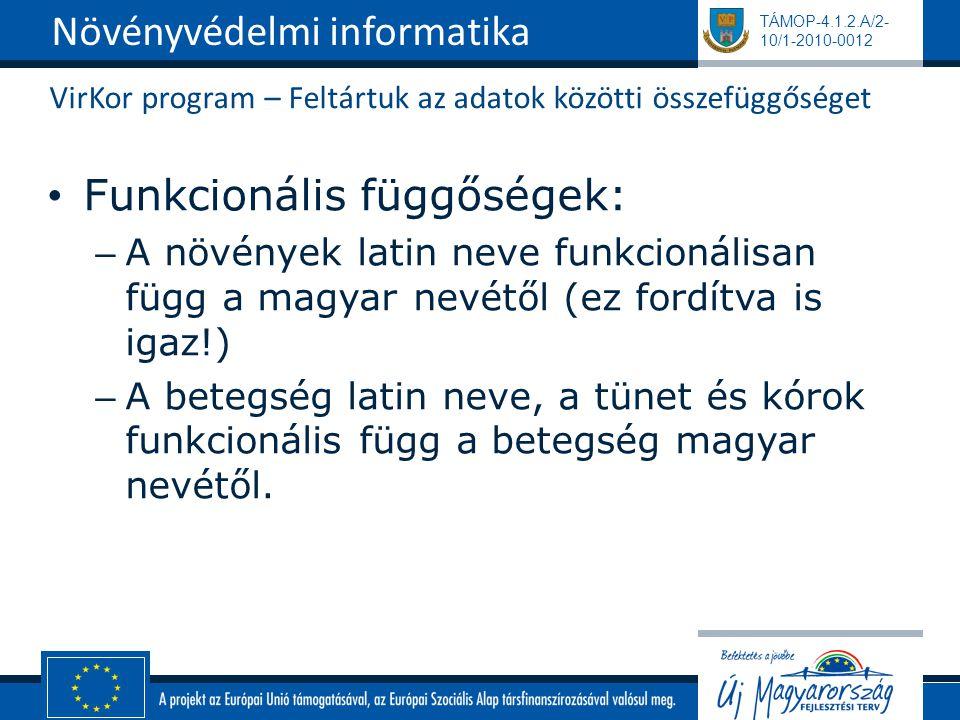 TÁMOP-4.1.2.A/2- 10/1-2010-0012 VirKor program – Feltártuk az adatok közötti összefüggőséget Funkcionális függőségek: – A növények latin neve funkcionálisan függ a magyar nevétől (ez fordítva is igaz!) – A betegség latin neve, a tünet és kórok funkcionális függ a betegség magyar nevétől.