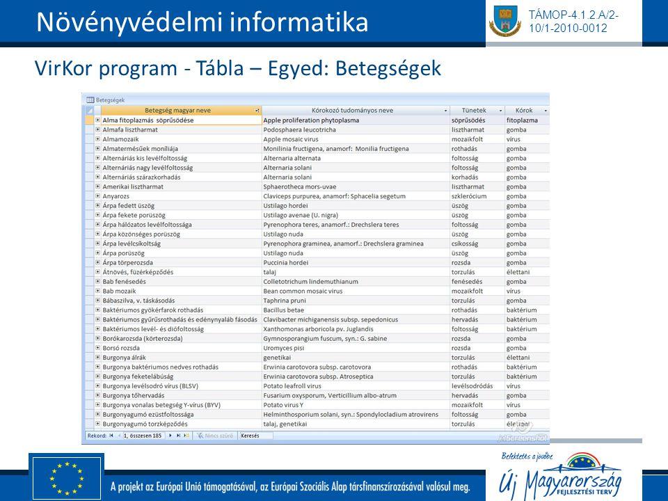 TÁMOP-4.1.2.A/2- 10/1-2010-0012 VirKor program - Tábla – Egyed: Betegségek Növényvédelmi informatika