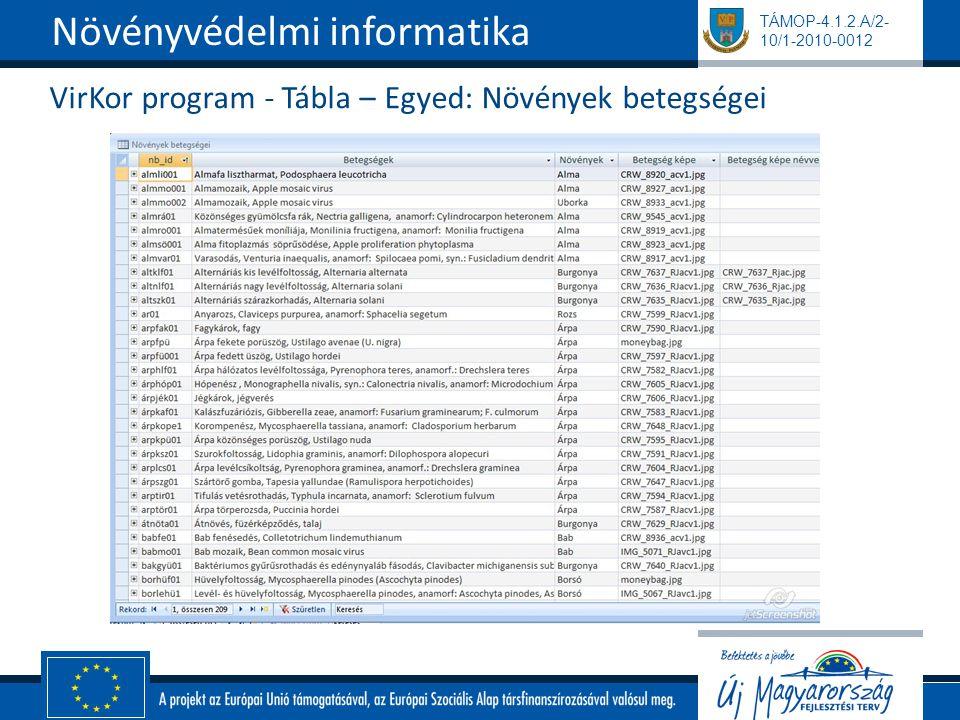 TÁMOP-4.1.2.A/2- 10/1-2010-0012 VirKor program - Tábla – Egyed: Növények betegségei Növényvédelmi informatika