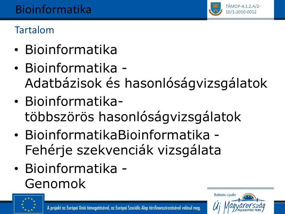 TÁMOP-4.1.2.A/2- 10/1-2010-0012 Tartalom Bioinformatika Bioinformatika - Adatbázisok és hasonlóságvizsgálatok Bioinformatika- többszörös hasonlóságvizsgálatok BioinformatikaBioinformatika - Fehérje szekvenciák vizsgálata Bioinformatika - Genomok Bioinformatika